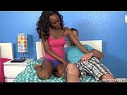 Topless Ebony Jerks Off A Big White Prick