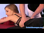 Tricked massage babe pussylicked by masseur