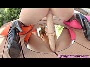 masturbating hottie loves big dildo