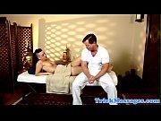 Massage loving babe riding masseurs dick