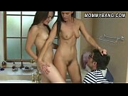 India Summer and Melanie Raine sharing a cock in the bathroom