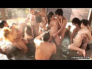 Asian whores sucking the fellas off in a hot spring