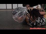 suspended ebony slut punished with breathplay