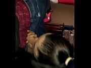 Блондинка с тату лапки на ягодице