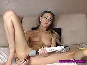 Teen blonde fucks her dildo until she cums hard