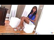 ebony babe swallows a full load.