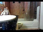 webcam shower on big screen of sorority house
