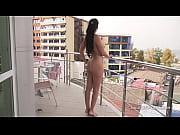 Feet care Naked on the balcony