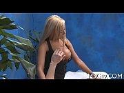 Blondie gangbanged in a massage room