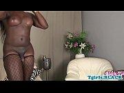 lingerie loving ebony ts strokes her.
