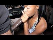 Intense Ebony chick gives huge black cock a passionate blowjob - DamnCam.net