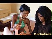 gorgeous ebony babes wanking huge cock
