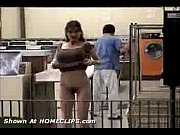 Flashing Big tits Hairy Pussy Public Nudity  At Laundry