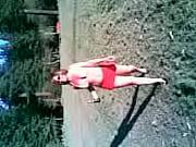 Justine Adams  flashing at the Rotorua  Redwoods 2