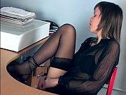 office babe fingering in sheer stockings.