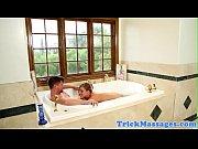 Massage loving babe drilled in bath tub