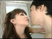 Japanese girl squirts, spits on cock, eats his face, fucks.