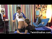 Amazing twinks Dustin and Vince are sitting on the bed and the guys