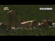 Czech teen masturbating outdoor and watcher spying her