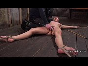 Brunette slave whipped on the floor