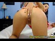 beautiful brunette playing on webcam -.