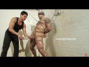 Huge gay stud tied in ropes tightly