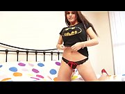 Girl in batman shirt reveals red hot lingerie underneath it