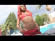 Hot latina redhead tranny jerks her cock off