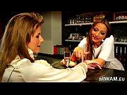 Playful lesbian bartender
