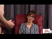 Classy spex beauty instructing sub to stroke