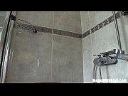 blonde cougar shaving in the shower.