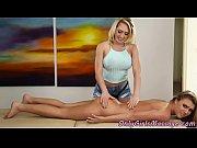 Busty masseuse scissoring lesbian teen client
