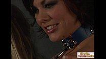 Dominant mistress makes two sexy sluts masturba...
