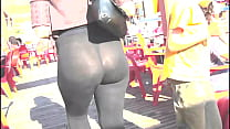 Booty sexy milf in the street with transparent ... Thumbnail