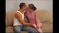 Young teen couple on sofa
