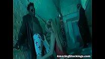 Amazing fishnet stockings slave sucking black cocks