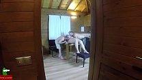 Trio doing the piggy in a wooden hut ADR075