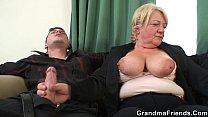Boozed blonde granny threesome
