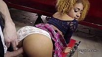 Ebony spinner bangs big cock in car shop