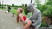 Hot babe Alessandra enjoys an oudoor fuck />  <span class=
