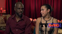 Black swinger guy is popping boners during inte...