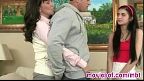 Horny stepmom teaches her stepdaughter how to please her bf