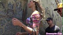 Latina tgirl barebacked in threeway