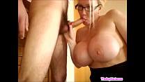 Big tit milf sucks the cock