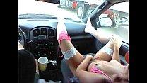 Jordan Faye in pink outfit rubbing pink!