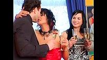Dressed females sharing dick in concupiscent xxx scenes