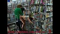 Public threesome in a video store