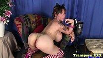 Busty tgirl beauty pulling her hard cock solo