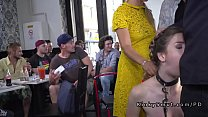 Busty slave and her mistress in public Thumbnail