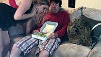 Horny MILF eats a sausage salad